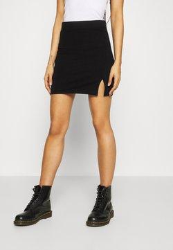 Even&Odd - Basic mini skirt with slit - Mini skirts  - black