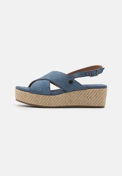 Anna Field - LEATHER - Korkeakorkoiset sandaalit - blue