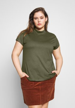 Zign Curvy - SLIM FIT TEE WITH TURTLE-NECK - T-paita - olive night