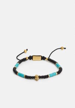 Northskull - SKULL MACRAMÉ BRACELET UNISEX - Bracelet - black/turquoise/gold-coloured