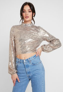 Nly by Nelly - OPEN BACK SEQUIN - Pusero - champagne