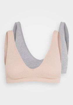 Cotton On Body - SEAMFREE PLUNGE BRALETTE 2 PACK - Triangel BH - new latte/grey marle