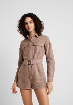 Missguided - UTILITY BELTED PLAYSUIT - Combinaison - brown