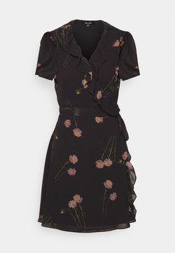 Madewell - RUFFLE WRAP MINI DRESS IN PHOTO FLORAL - Freizeitkleid - true black