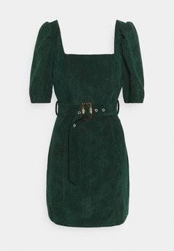 Missguided - MILKMAID PUFF BELT SKATER DRESS - Vestido de tubo - dark green