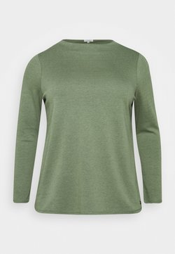 MY TRUE ME TOM TAILOR - DOUBLE FACE TURTLE - Langarmshirt - greyish/green melange