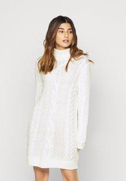 Object Petite - OBJAVA ROLLNECK DRESS - Gebreide jurk - gardenia