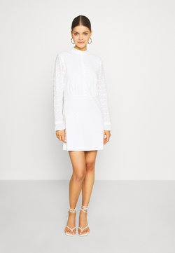 NA-KD - DOBBY MINI DRESS - Blusenkleid - white