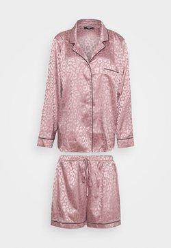 Missguided - PLUS SIZE PREMIUM ANIMAL SHIRT AND SHORT SET - Pyjama - mauve