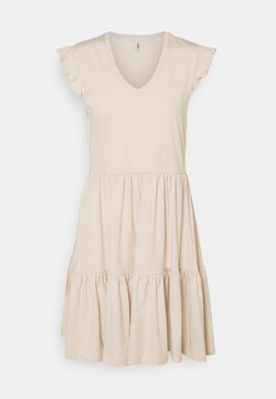 ONLY - ONLMAY LIFE CAP SLEEVES FRILL DRESS - Jerseykleid - pumice stone