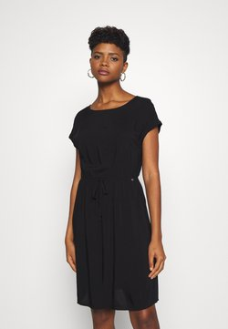 TOM TAILOR DENIM - OVERCUT SHOULDER DRESS - Freizeitkleid - deep black