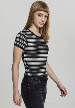 Urban Classics - LADIES RIB SHORT TEE - T-Shirt basic - black/white