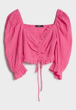 Bershka - MIT BALLONÄRMELN UND RAFFUNG - Bluse - neon pink