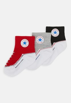 Converse - CHUCK INFANT QUARTER 3 PACK UNISEX - Calcetines - black/light red/grey