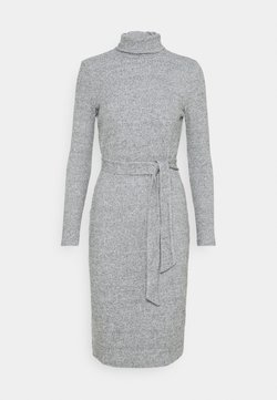 Dorothy Perkins Petite - TIE WAIST ROLL NECK MIDI DRESS - Neulemekko - grey marl