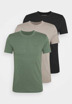 Calvin Klein Jeans - SLIM TEE 3 PACK - Camiseta básica - olive/black/grey