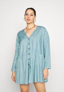 Missguided Plus - DALMATIAN BUTTON SMOCK DRESS - Freizeitkleid - blue