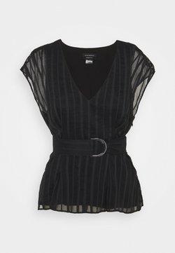 Club Monaco - V NECK TIE - Bluse - black