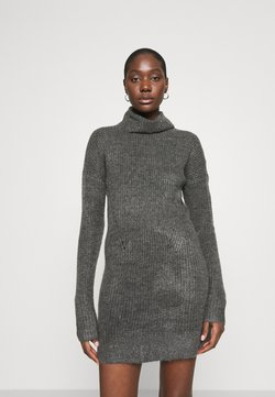 Abercrombie & Fitch - TEXTURAL CREW DRESS - Neulemekko - dark gray heather