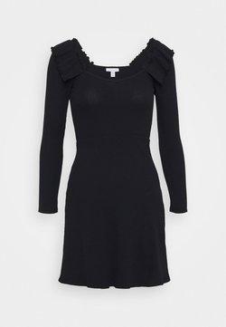 Topshop Petite - FRILL SKATER DRESS - Vestido de punto - black