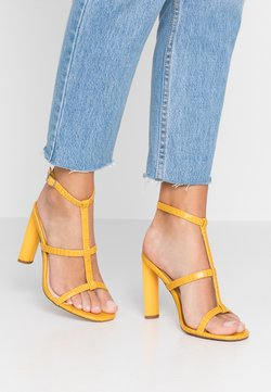 Topshop Wide Fit - WIDE FIT RIVER STRAPPY BLOCK - High heeled sandals - yellow