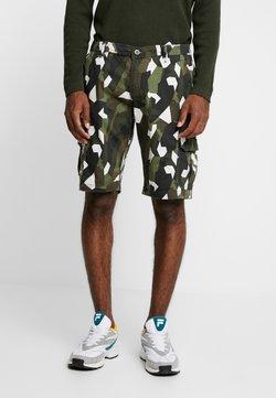 Urban Classics - GEOMETRIC CAMO STRETCH TWILL CARGO - Shorts - wood camo