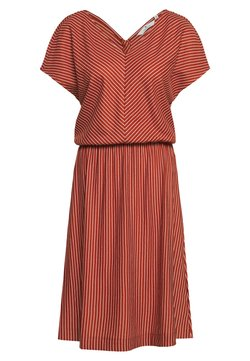 TOM TAILOR - DRESS STRIPE - Freizeitkleid - brown/white