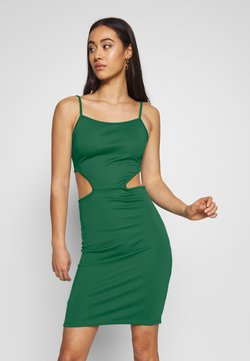 NA-KD - OPEN SIDE DETAIL DRESS - Shift dress - emerald green