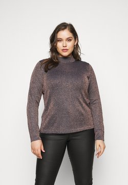 CAPSULE by Simply Be - CYBER FUNNEL NECK JUMPER - Jersey de punto - navy/copper
