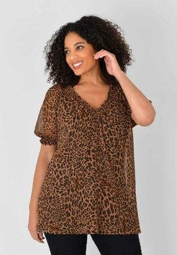 Live Unlimited London - ANIMAL PRINT SHIRRED DETAIL  - Bluse - brown