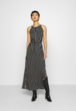 TOM TAILOR DENIM - STRIPED NECKHOLDER DRESS - Sukienka z dżerseju - black/white