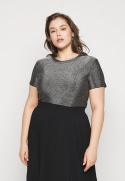 Vero Moda Curve - VMADALYN GLITTER - T-Shirt basic - black/silver