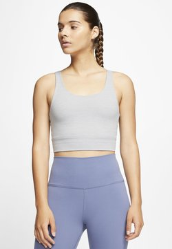 Nike Performance - THE YOGA LUXE CROP TANK - Toppi - particle grey/heather/platinum tint