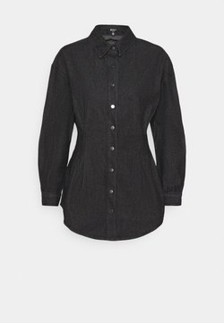 Missguided Petite - WASHED OVERSIZED BOYFRIEND - Camicia - black