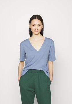 Weekday - LAST VNECK - T-shirt basic - blue/grey