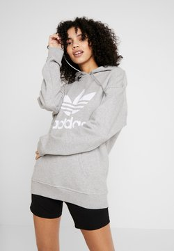 adidas Originals - ADICOLOR TREFOIL HODDIE SWEAT - Hoodie - medium grey heather/white