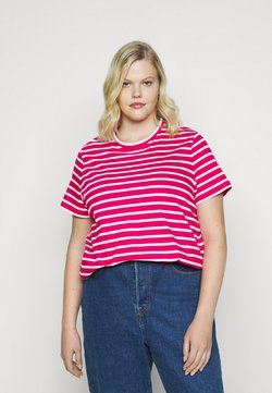 Tommy Hilfiger Curve - COOL TEE - T-Shirt basic - ruby jewel/white