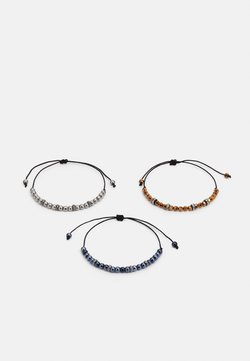 Topman - SLIM BEADED 3 PACK - Bracelet - black