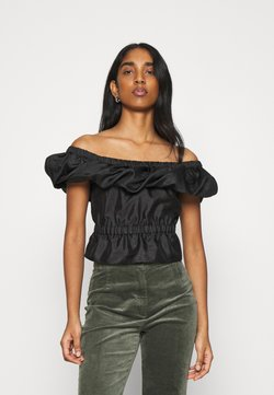 Topshop - TEXTURED BARDOT - T-Shirt print - black