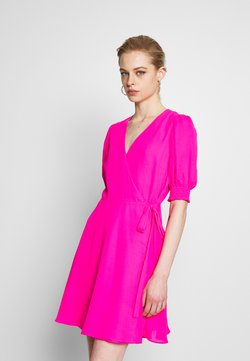 Banana Republic - SMOCKED PUFF VNECK WRAP  - Freizeitkleid - neon fuschia