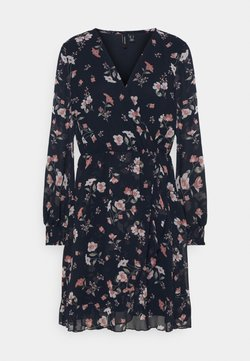 Vero Moda - VMZALLIE WRAP DRESS - Freizeitkleid - navy blazer/zallie