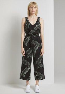 mine to five TOM TAILOR - Jumpsuit - black tropical leaves design