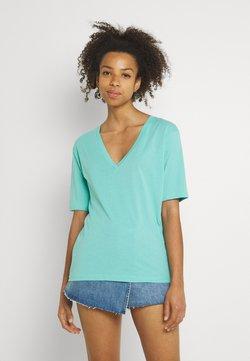 Weekday - LAST V NECK - T-shirt basic - turqoise green