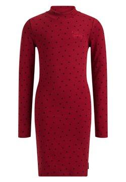 WE Fashion - MET STIPPENDESSIN - Etuikleid - vintage red