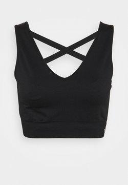 NU-IN - SEAMLESS CAGE BACK V NECK BRA - Light support sports bra - black