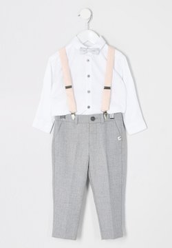 River Island - MINI BOYS GREY TROUSERS AND BRACES OUTFIT - Stoffhose - grey