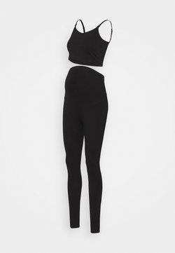 Anna Field MAMA - SET NURSING FUNCTION CROP TOP & LEGGINGS - Leggings - black