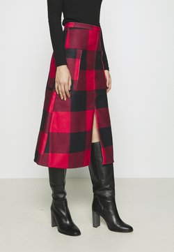 Who What Wear - MIDI A LINE SKIRT - A-Linien-Rock - red