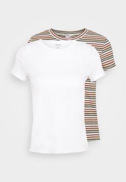 Monki - MAGDALENA TEE 2 PACK - T-Shirt print - white dusty light/white