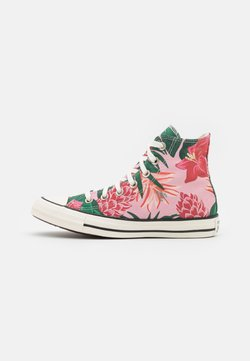 Converse - CHUCK TAYLOR ALL STAR JUNGLE SCENE UNISEX - Korkeavartiset tennarit - egret/pink/black